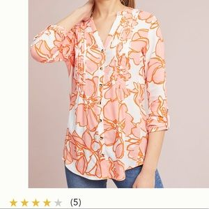Anthropologie large Maeve floral buttondown